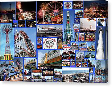 Canvas Print featuring the photograph Coney Island Collage by Steven Spak