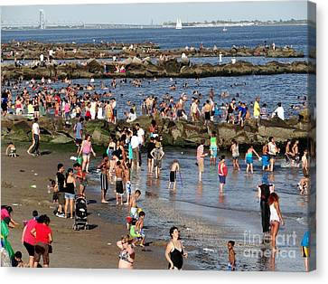 Canvas Print featuring the photograph Coney Island Rocks by Ed Weidman