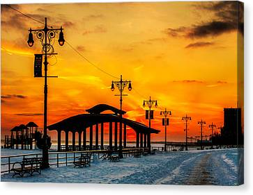 Coney Island Winter Sunset Canvas Print by Chris Lord