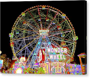 Coney Island's Famous Amusement Park And Wonder Wheel Canvas Print