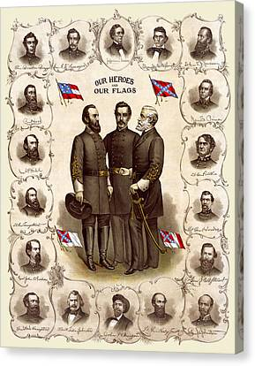 Slavery Canvas Print - Confederate Generals And Flags by Daniel Hagerman