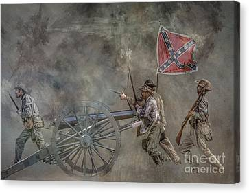 Confederate Infantry Charge Civil War Canvas Print by Randy Steele