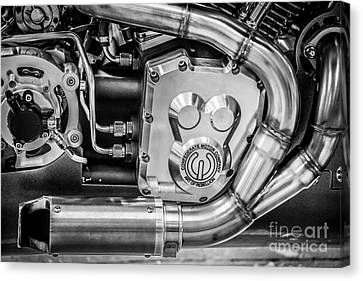 Confederate Motorcycle B120 Wraith Engine And Exhaust Pipe - Black And White Canvas Print by Ian Monk