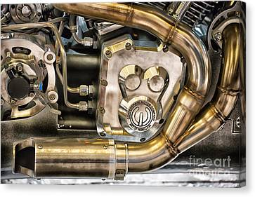 Confederate Motorcycle B120 Wraith Engine And Exhaust Pipe Canvas Print by Ian Monk