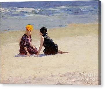Chat Canvas Print - Confidences by Edward Henry Potthast