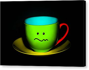 Confused Colorful Cup And Saucer Canvas Print by Natalie Kinnear
