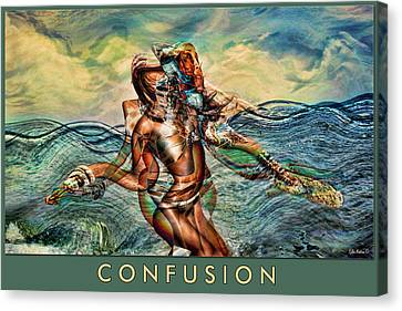 Canvas Print featuring the mixed media Confusion by Tyler Robbins