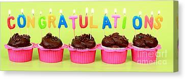 Congratulations Cupcakes Canvas Print by Pattie Calfy