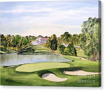 Canvas Print featuring the painting Congressional Golf Course 10th Hole by Bill Holkham