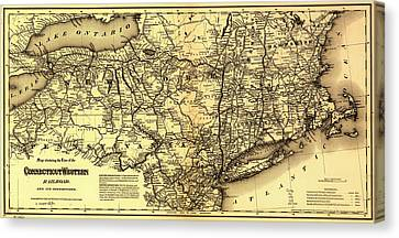 Connecticut And Western Railroad Map 1871 Canvas Print by Mountain Dreams