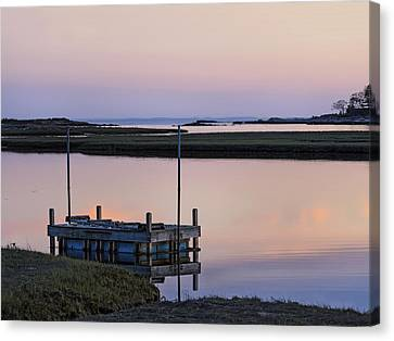 Connecticut Backwaters Sunset With Dock  Canvas Print