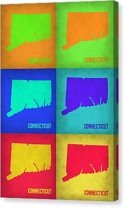 World Map Canvas Print - Connecticut Pop Art Map 1 by Naxart Studio