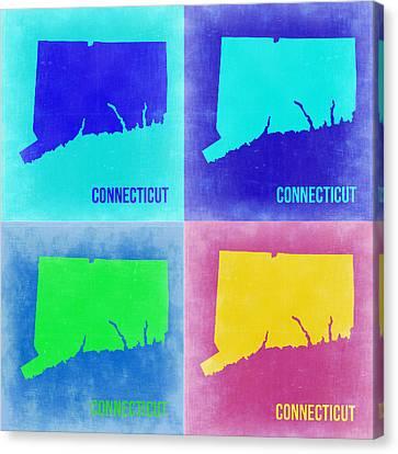 Connecticut Pop Art Map 2 Canvas Print by Naxart Studio