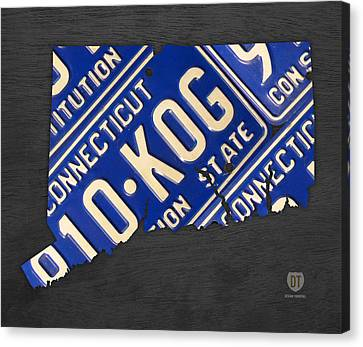Connecticut State Outline License Plate Map Edition 2 Canvas Print by Design Turnpike