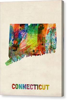 Connecticut Watercolor Map Canvas Print by Michael Tompsett