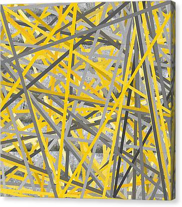 Connection - Yellow And Gray Wall Art Canvas Print