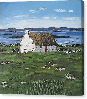 Connemara Thatched Cottage With Sheep Ireland Canvas Print by Diana Shephard