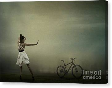 Canvas Print featuring the pyrography Conqueror Of The Bike by Evgeniy Lankin