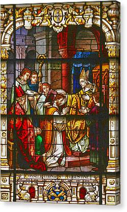 Worship Canvas Print - Consecration Of St Augustine Stained Glass Window by Christine Till