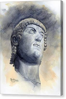 Constantine Bronze Head Canvas Print by Maddy Swan