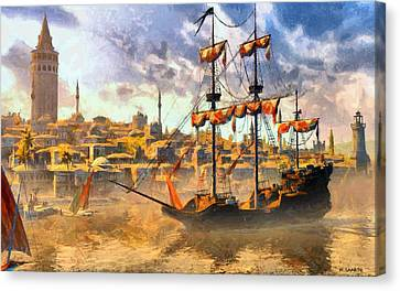 Canvas Print featuring the digital art Constantinopoli Anno Domini 1533 by Kai Saarto