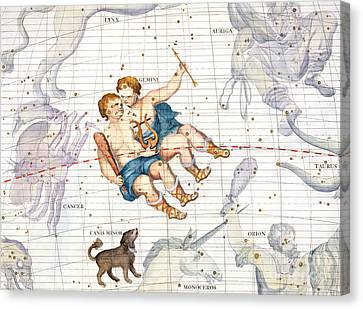 Constellation Of Gemini With Canis Minor Canvas Print by Sir James Thornhill