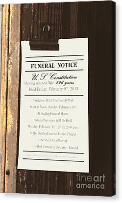 Constitution Death Notice Canvas Print by Joe Jake Pratt