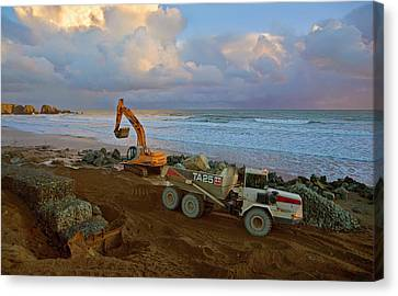 Constructing Sea Defenses,bunmahon Canvas Print by Panoramic Images