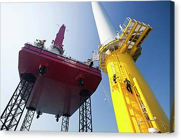 Constructing Walney Offshore Wind Farm Canvas Print by Ashley Cooper