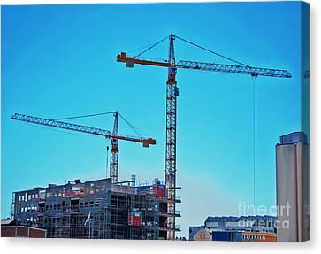 construction cranes HDR Canvas Print by Antony McAulay