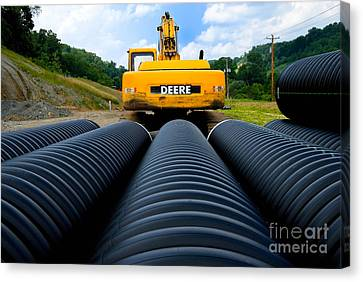 Construction Excavator Canvas Print by Amy Cicconi