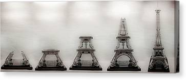 Construction Of Lego Eiffel Tower Canvas Print by Natasha Bishop