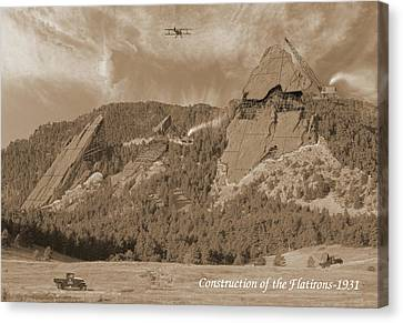 Construction Of The Flatirons - 1931 - Sepia Canvas Print by Jerry McElroy