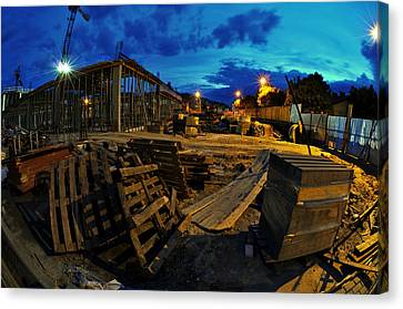 Wooden Box Canvas Print - Construction Site At Night by Jaroslaw Grudzinski
