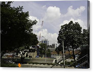 Construction Work Ongoing In Singapore Canvas Print by Ashish Agarwal