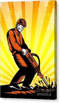 Construction Worker Jackhammer Retro Poster Canvas Print by Aloysius Patrimonio