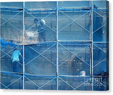 Construction Workers  High Up On Scaffolding Canvas Print by Yali Shi