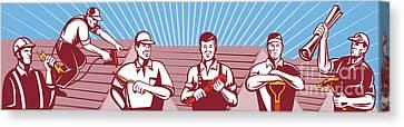 Construction Workers Tradesman Retro Canvas Print by Aloysius Patrimonio