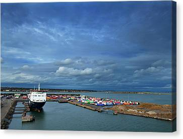 Container Docks At The Mouth Canvas Print by Panoramic Images