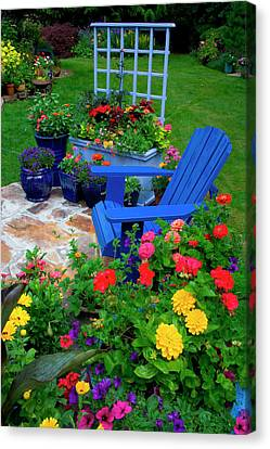Container Garden Design With Blue Chair Canvas Print