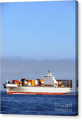Merchant Canvas Print - Container Ship At Sea by Olivier Le Queinec