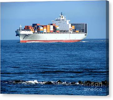 Container Ship Canvas Print by Olivier Le Queinec