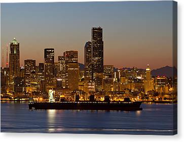 Canvas Print featuring the photograph Container Ship On Puget Sound Along Seattle Skyline by JPLDesigns
