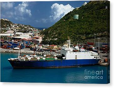 Container Ship St Maarten Canvas Print by Amy Cicconi