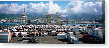 Containers And Cranes At A Harbor Canvas Print
