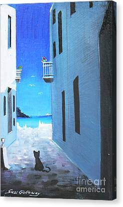 Canvas Print featuring the painting Contemplating by S G