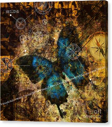 Canvas Print featuring the digital art Contemplating The Butterfly Effect  by Nola Lee Kelsey