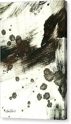 Contemplation In Black And White Abstract Art Canvas Print by Ann Powell