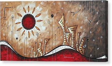 Contemporary Abstract Art Cityscape Original City Painting Where Our Paths Lead By Madart Canvas Print by Megan Duncanson
