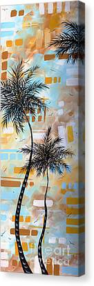 Contemporary Abstract Tropical Palm Tree Painting Colorful And Fun By Megan Duncanson Canvas Print by Megan Duncanson